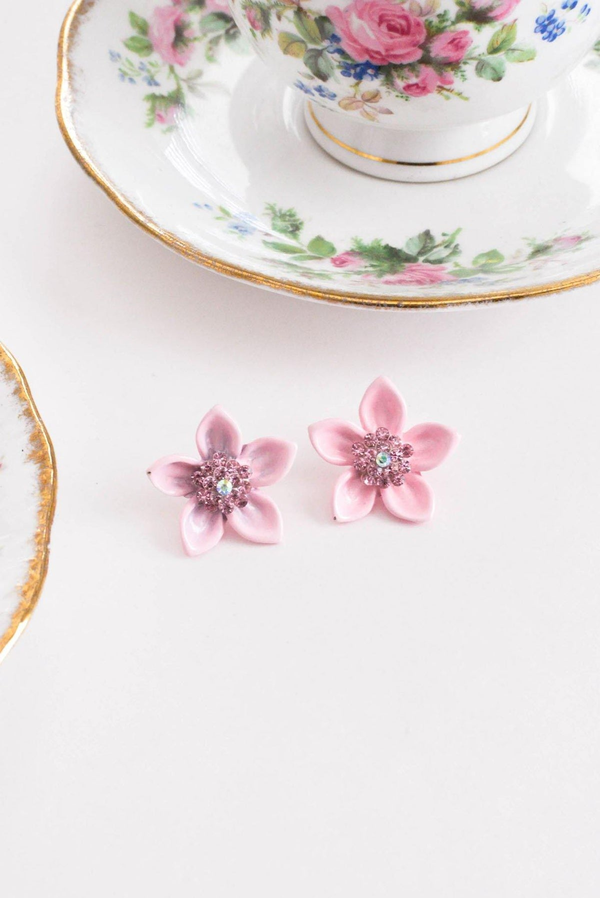 Vintage Pink Enamel Flower Pierced Earrings from Sweet and Spark,