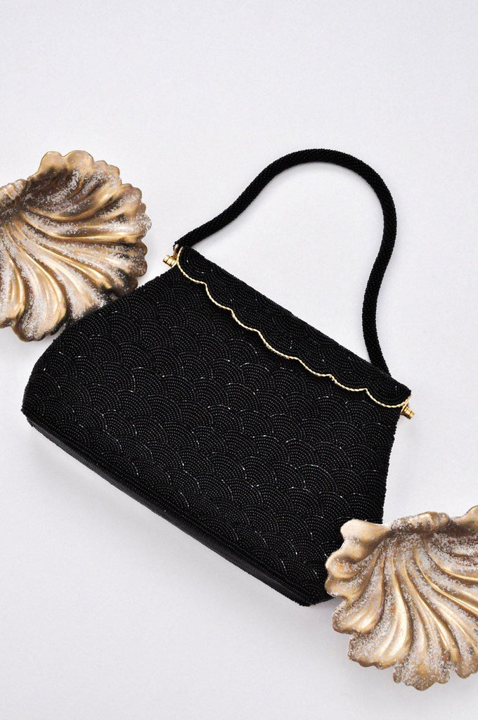 Black Beaded Scallop Bag