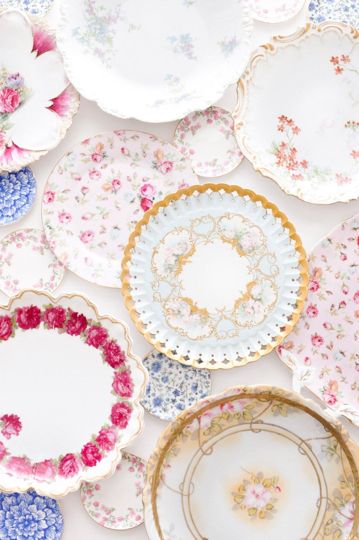 Vintage floral jewelry dishes from Sweet & Spark.