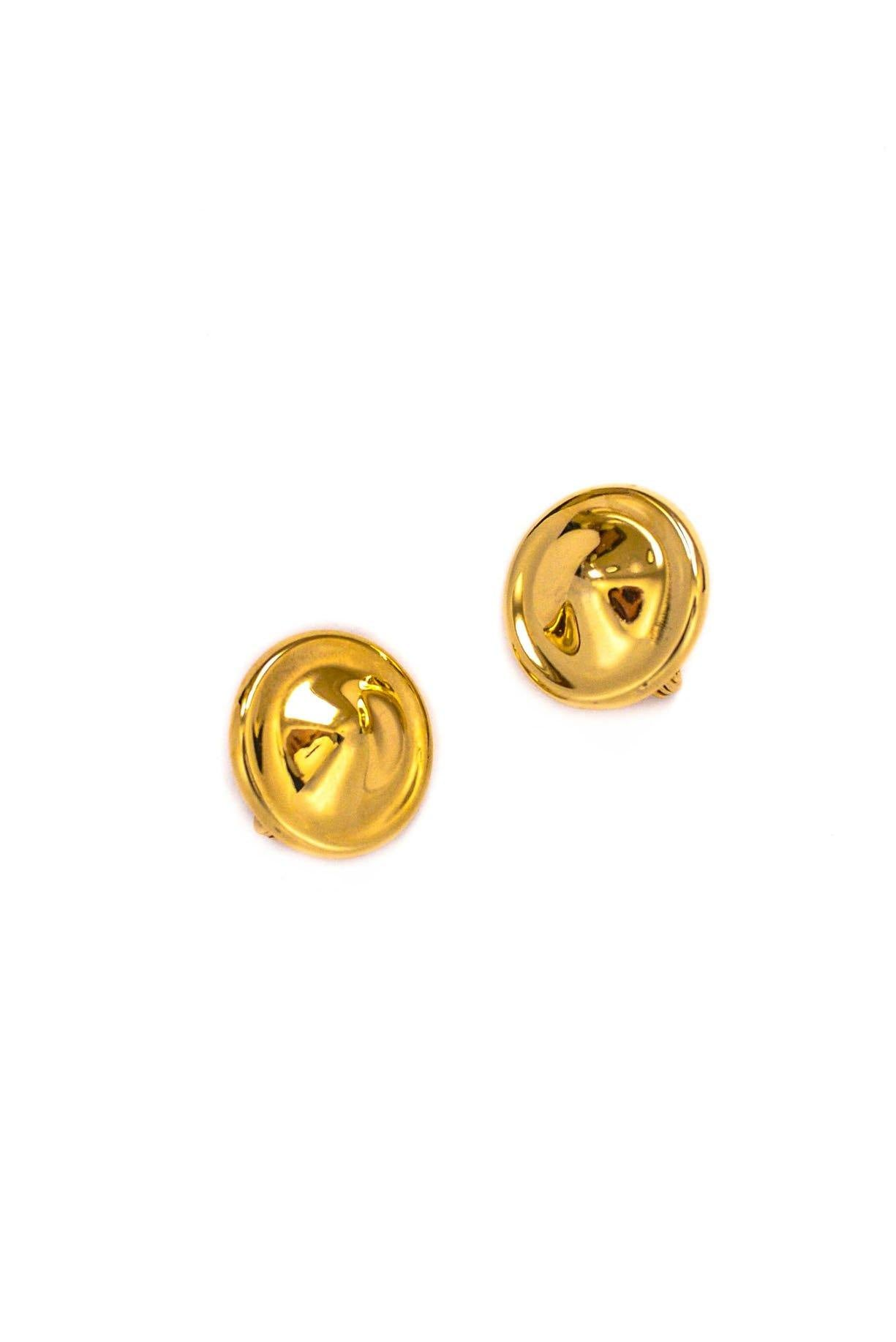 Vintage Gold Disc Clip-on Earrings from Sweet and Spark