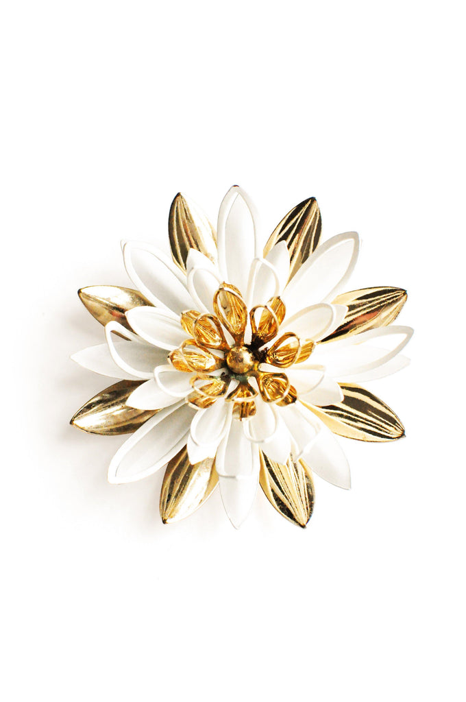 Sarah Coventry Gold and White Floral Brooch