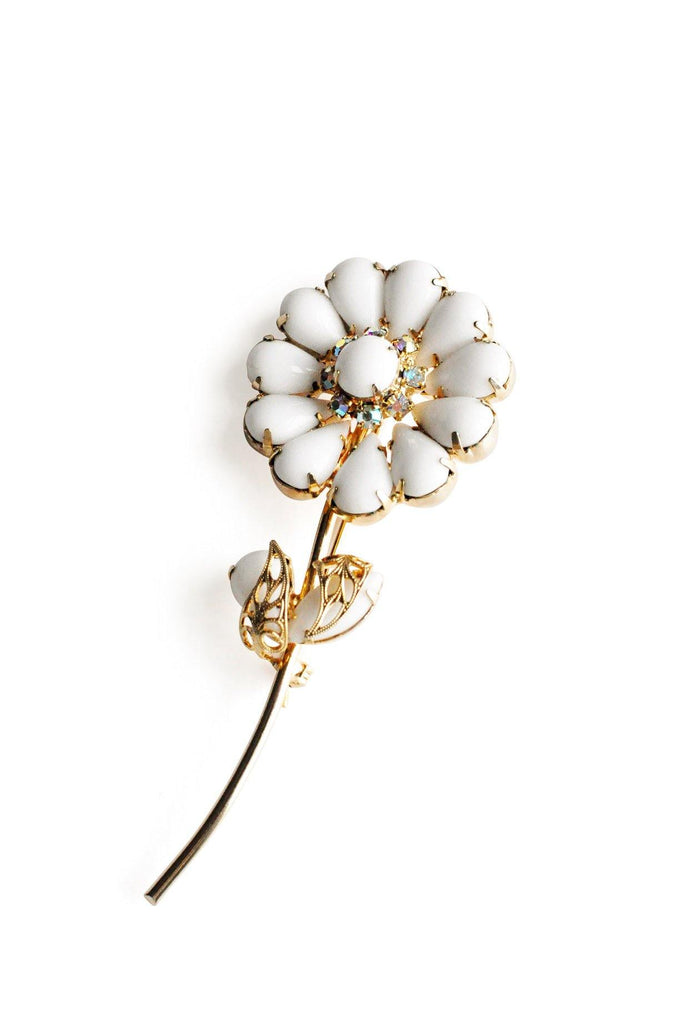 Milk Glass Floral Stem Brooch