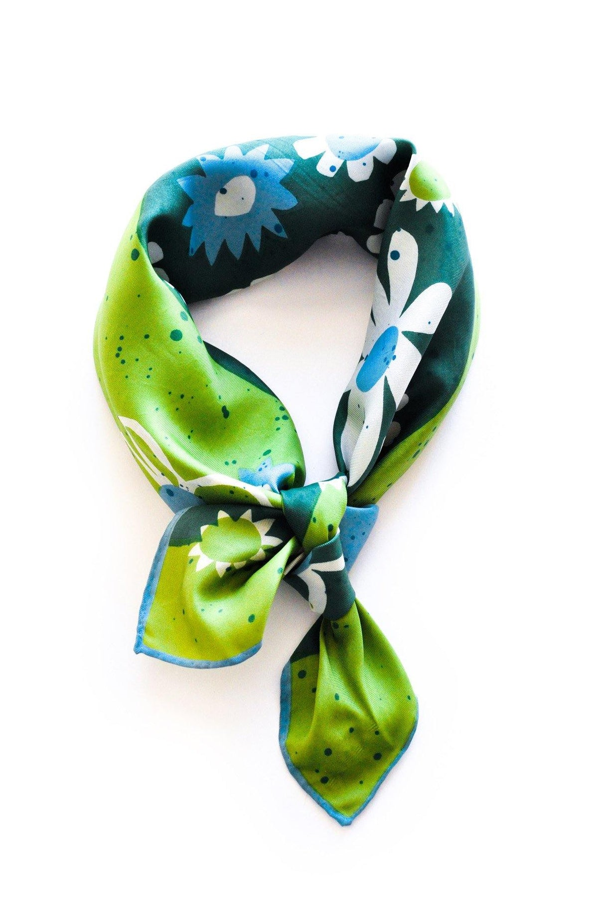 Green daisy vintage florals scarf from Sweet & Spark by Vera Neumann.