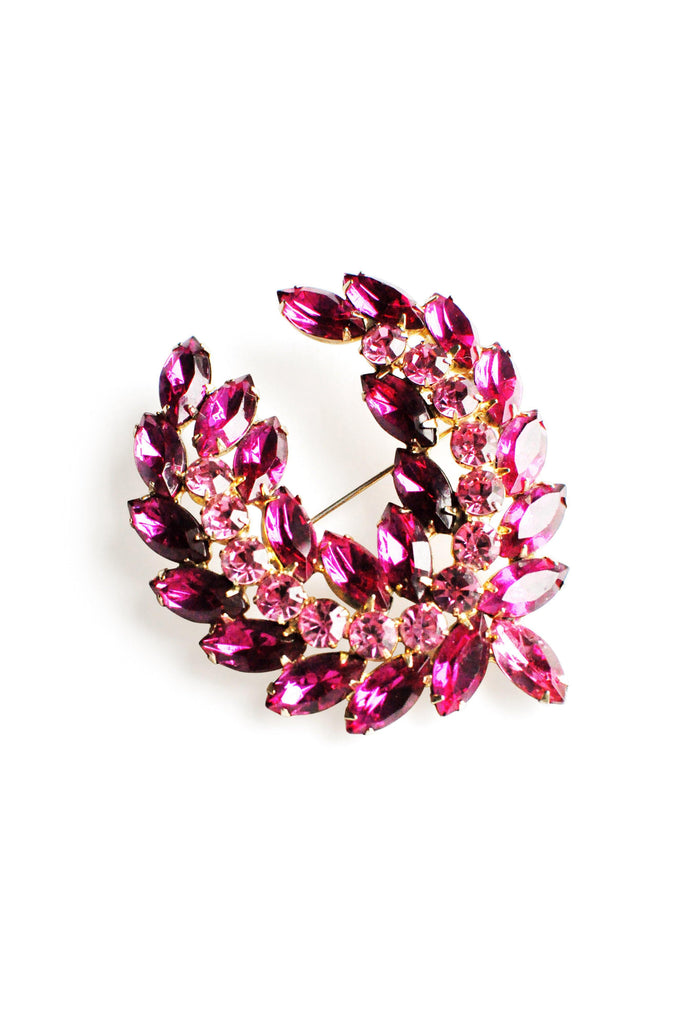 Pink Rhinestone Statement Brooch