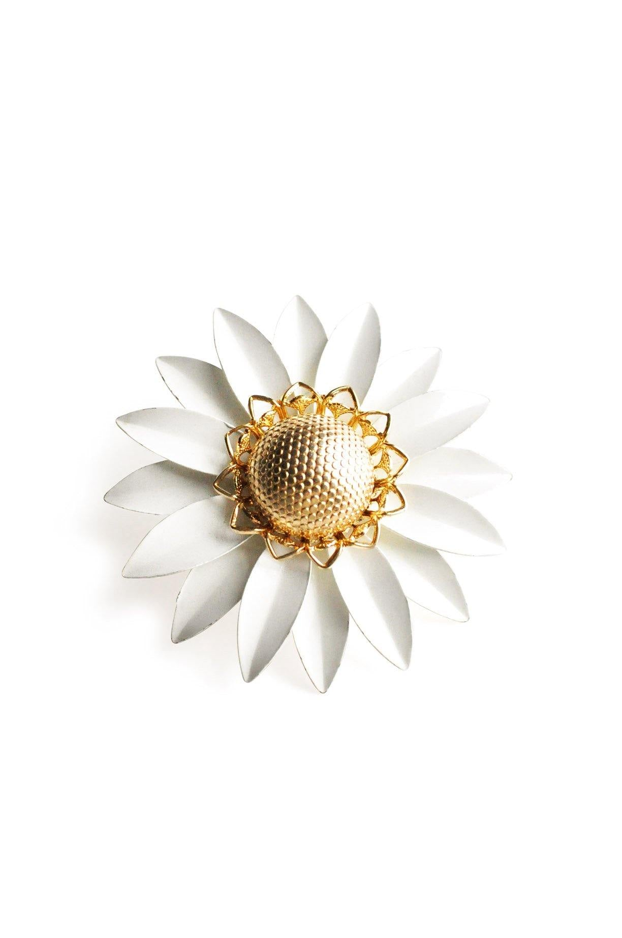 Gold and White Floral Brooch
