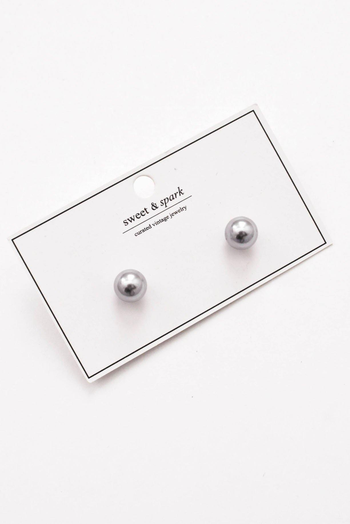Blue Pearl Pierced Earrings - Sweet & Spark