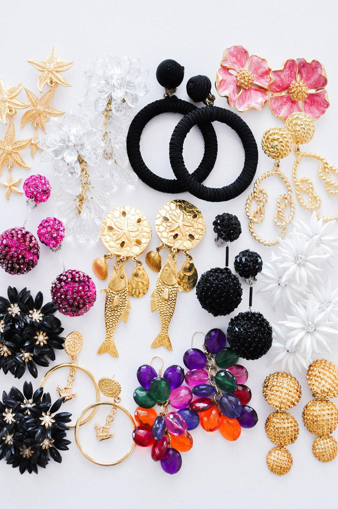 Black Bon Bon Clip-on Earrings