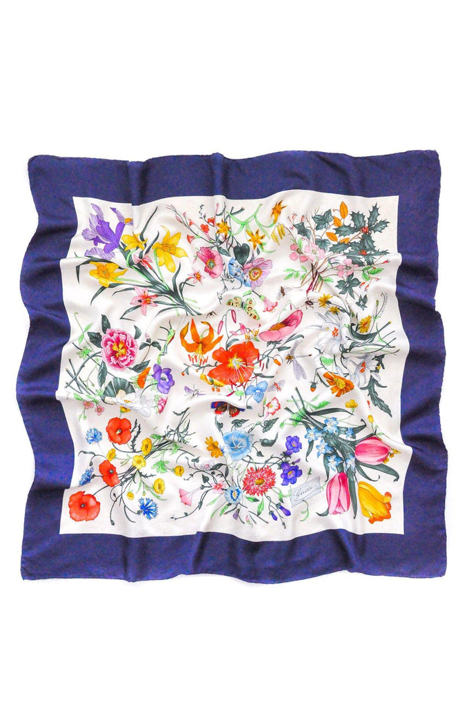 Gucci Navy Floral Square Scarf