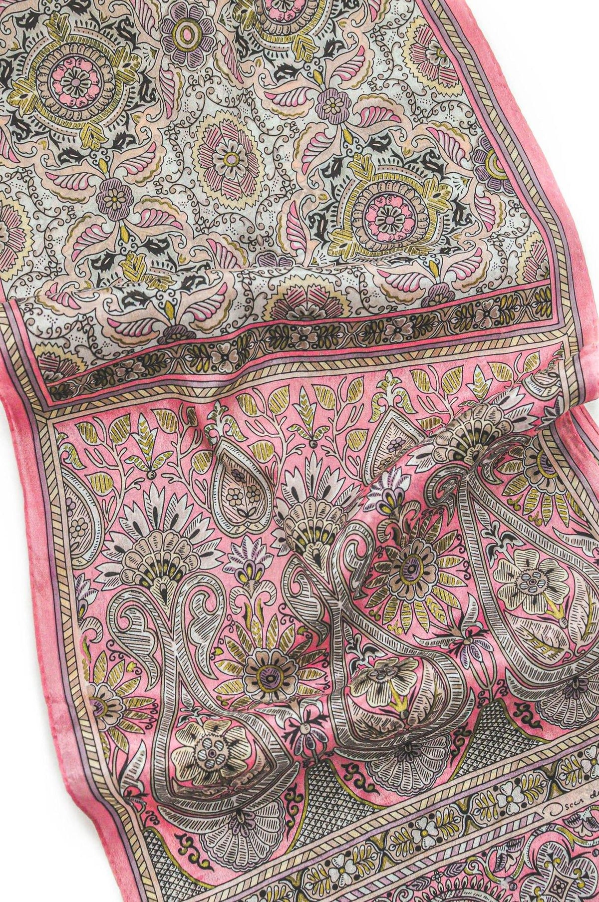 Vintage Oscar de la Renta Pink Rectangular Scarf from Sweet and Spark