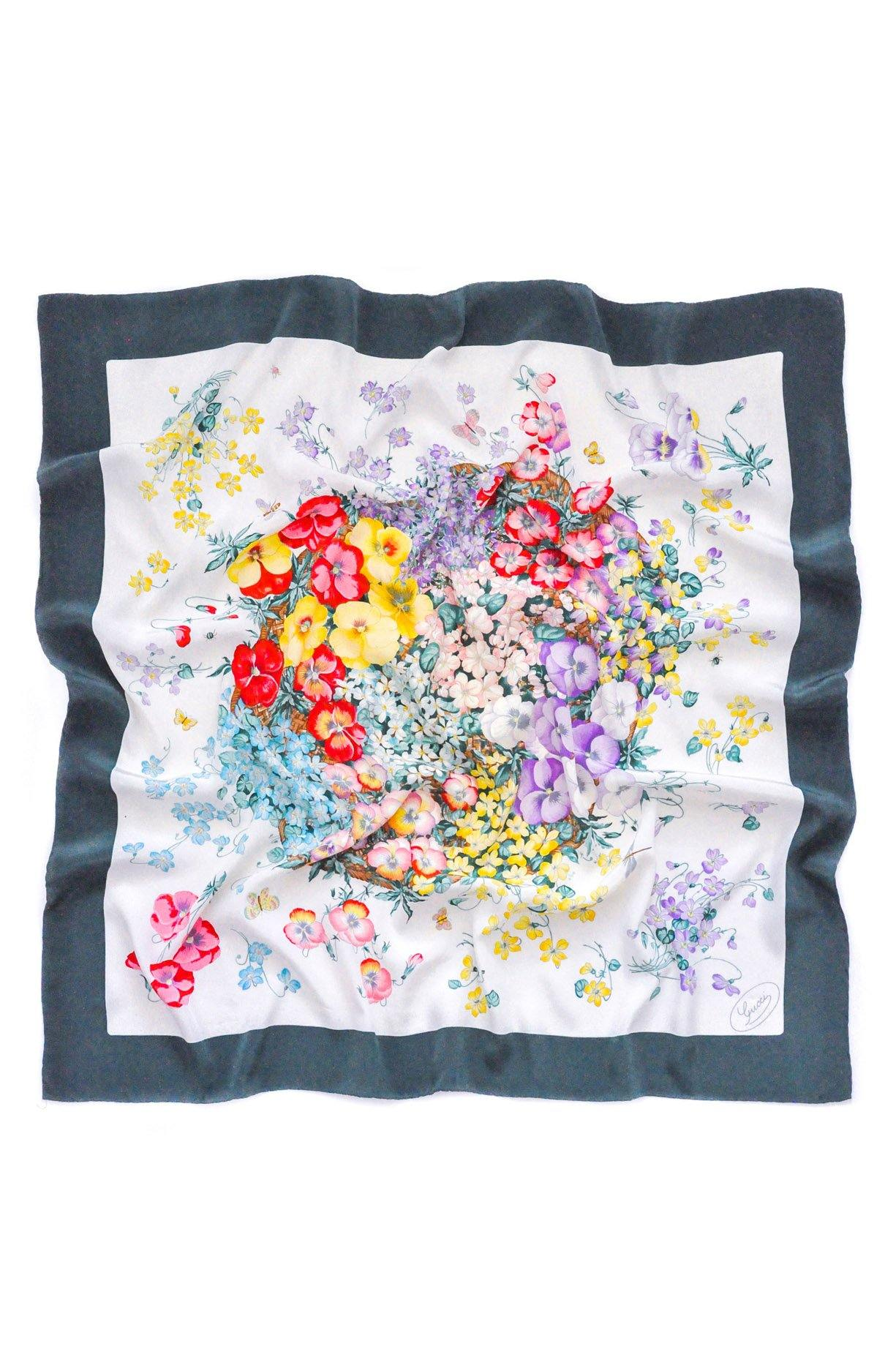 Gucci Green Floral Square Scarf