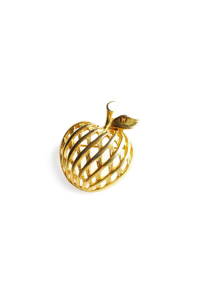Gold Apple Brooch