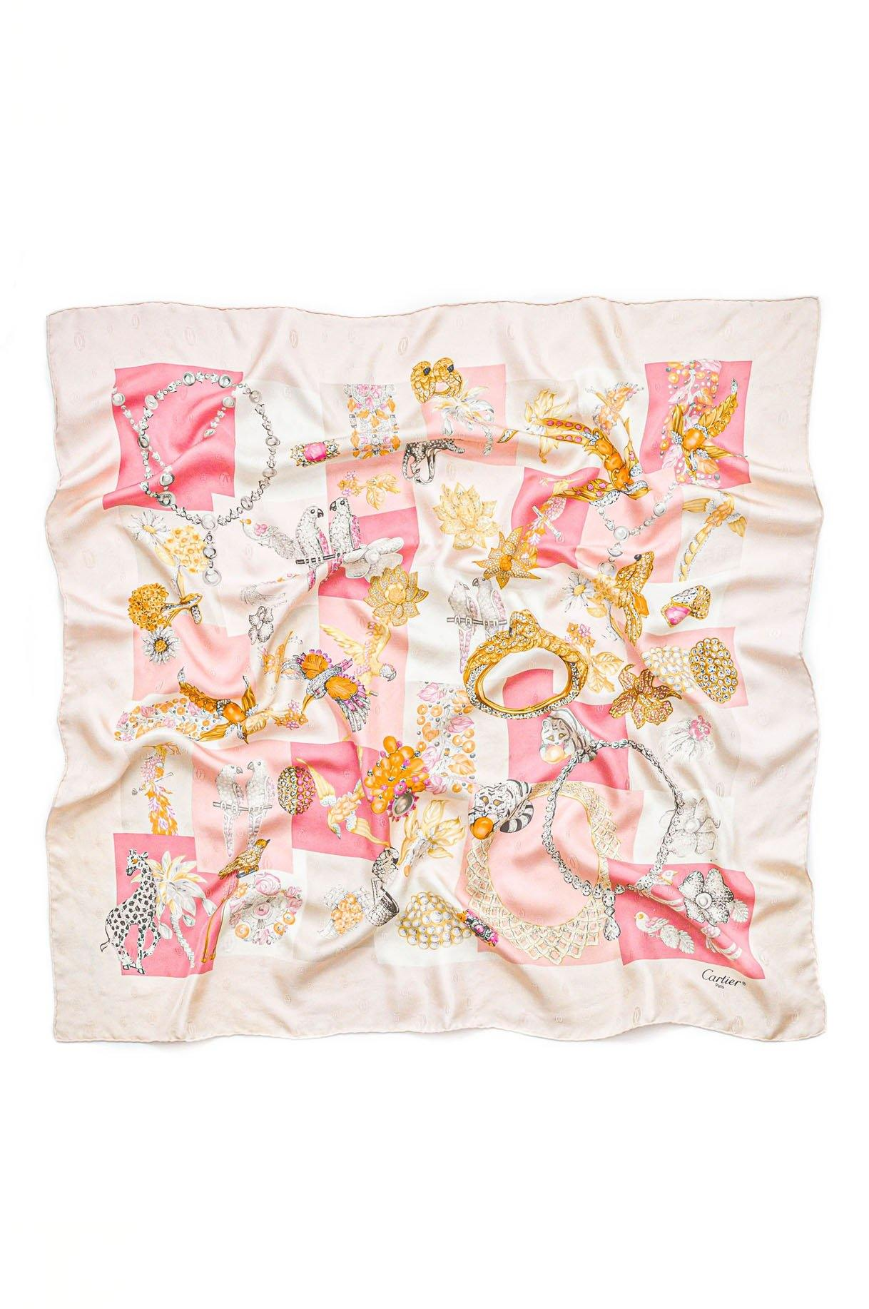 Vintage Cartier Pink Tropical Jeweled Scarf from Sweet and Spark