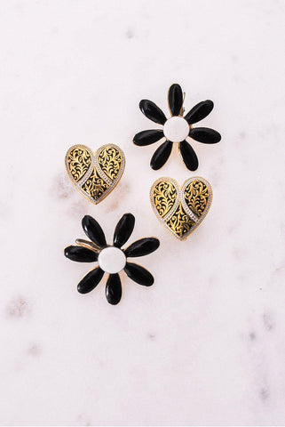 Damascene Heart Clip-on Earrings