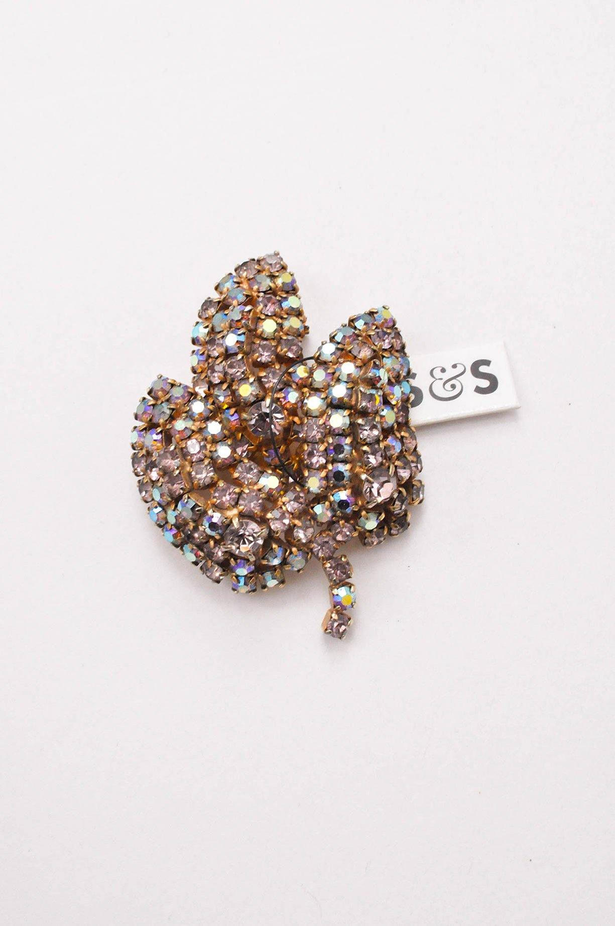 Rhinestone leaf brooch from Sweet & Spark.