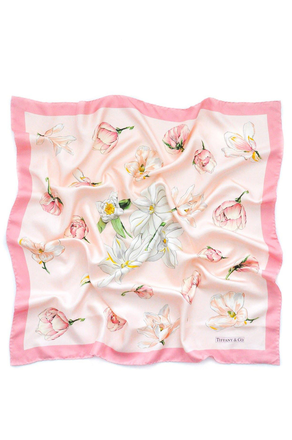 Tiffany & Co. Pink Floral Square Scarf