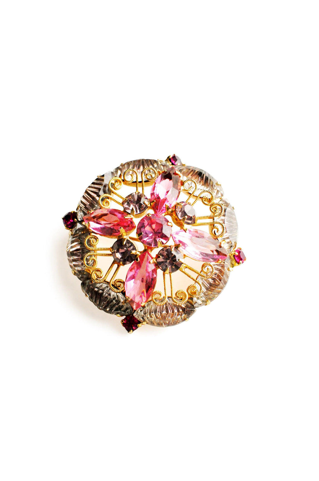 Pink & Purple Rhinestone Brooch