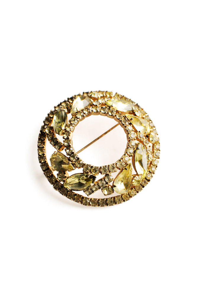 Yellow Rhinestone Circle Brooch
