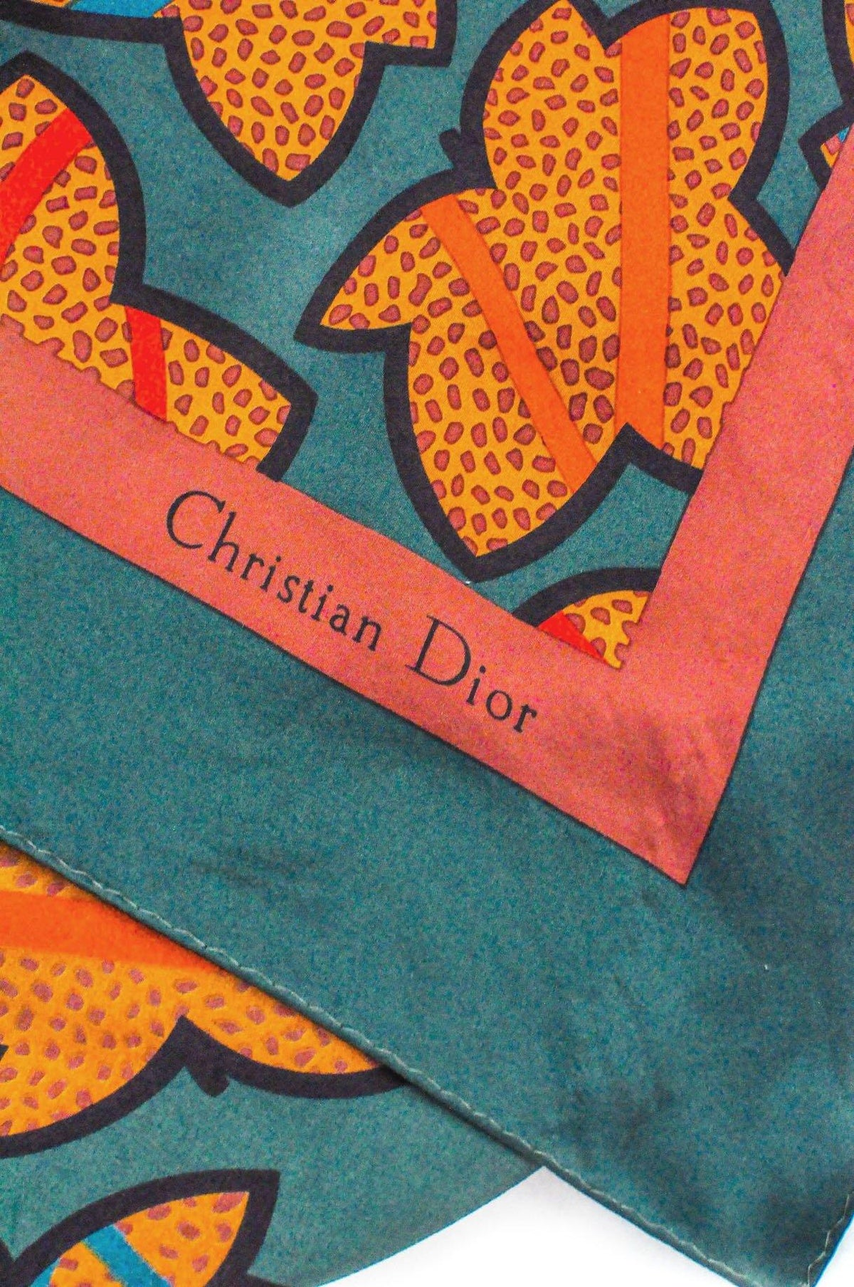 Vintage Christian Dior Brown Green Geo Scarf