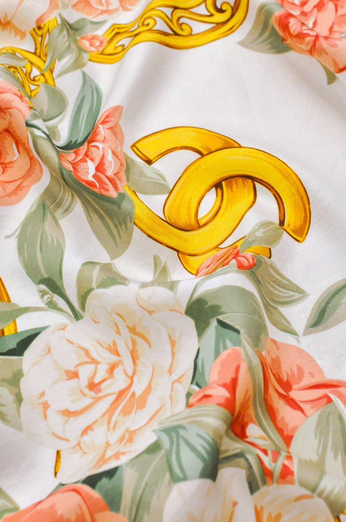 Chanel Pink Floral Square Scarf