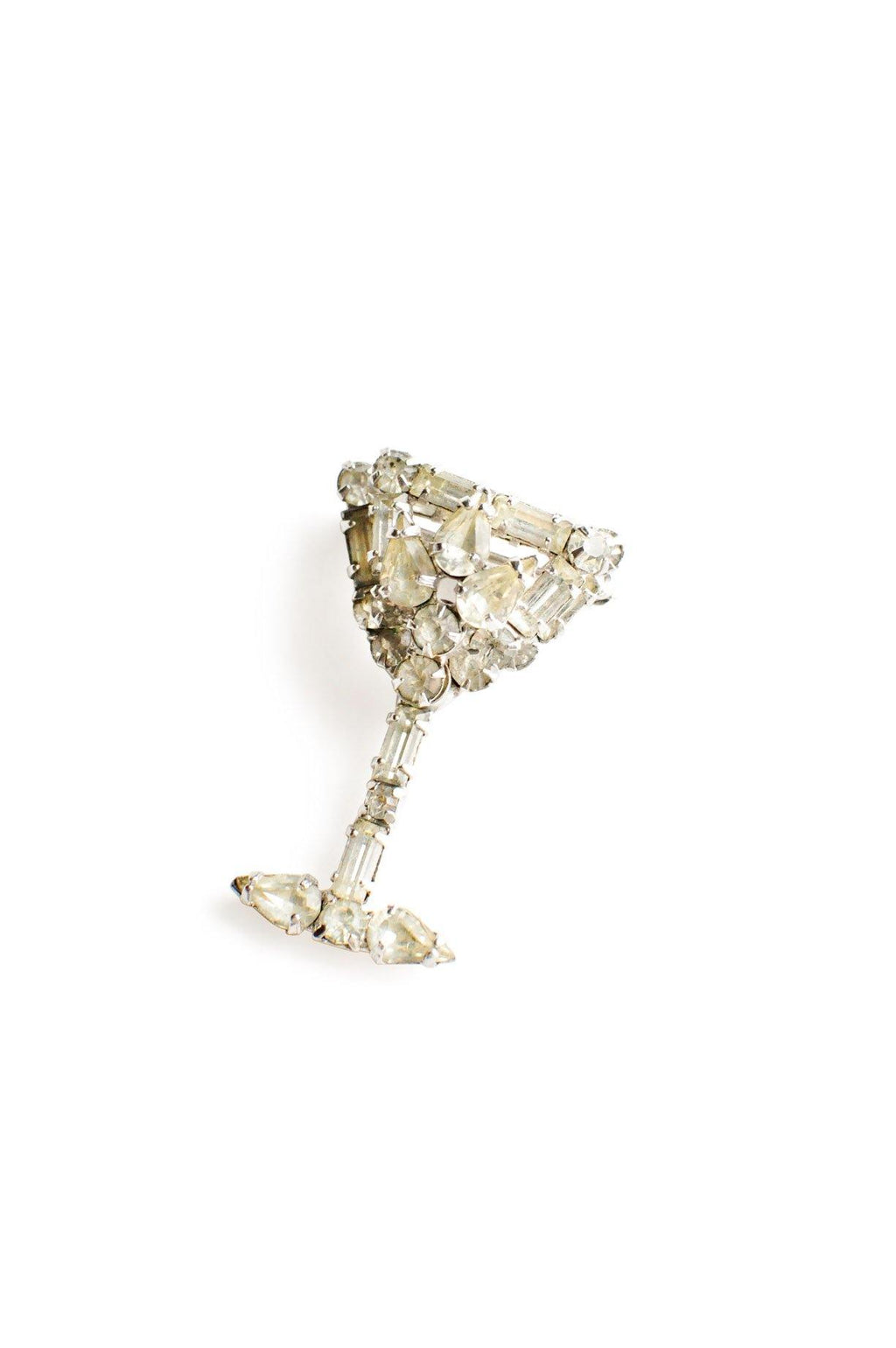 Rhinestone Cocktail Glass Brooch
