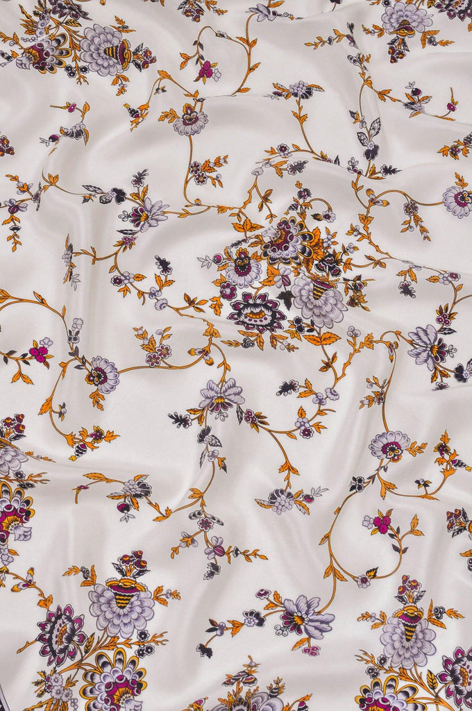 Oscar de la Renta White and Purple Floral Scarf