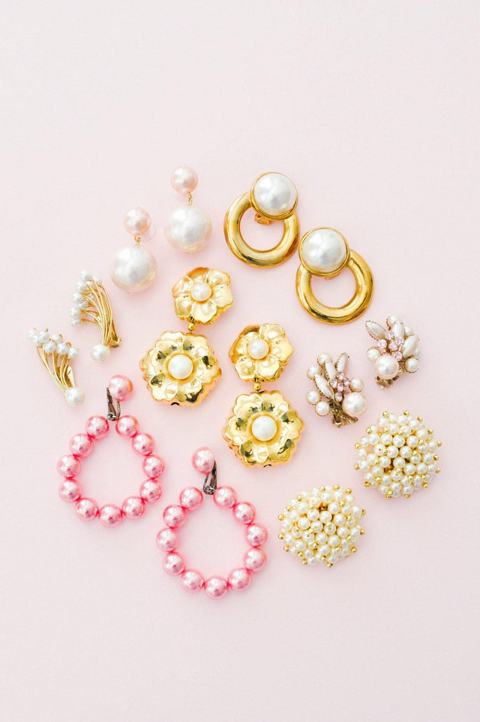 Pink Pearl Crawler Clip-on Earrings