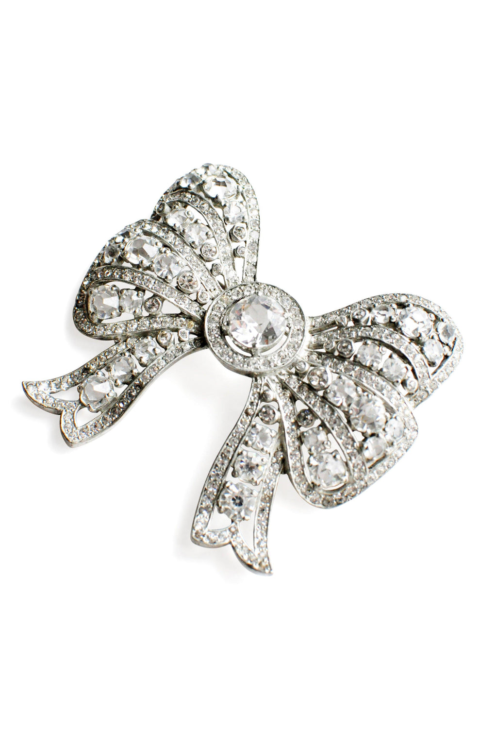 Rhinestone Bow Statement Brooch