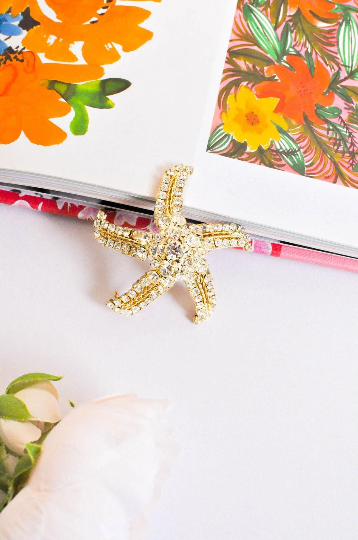 Vintage Starfish Rhinestone Brooch from Sweet and Spark
