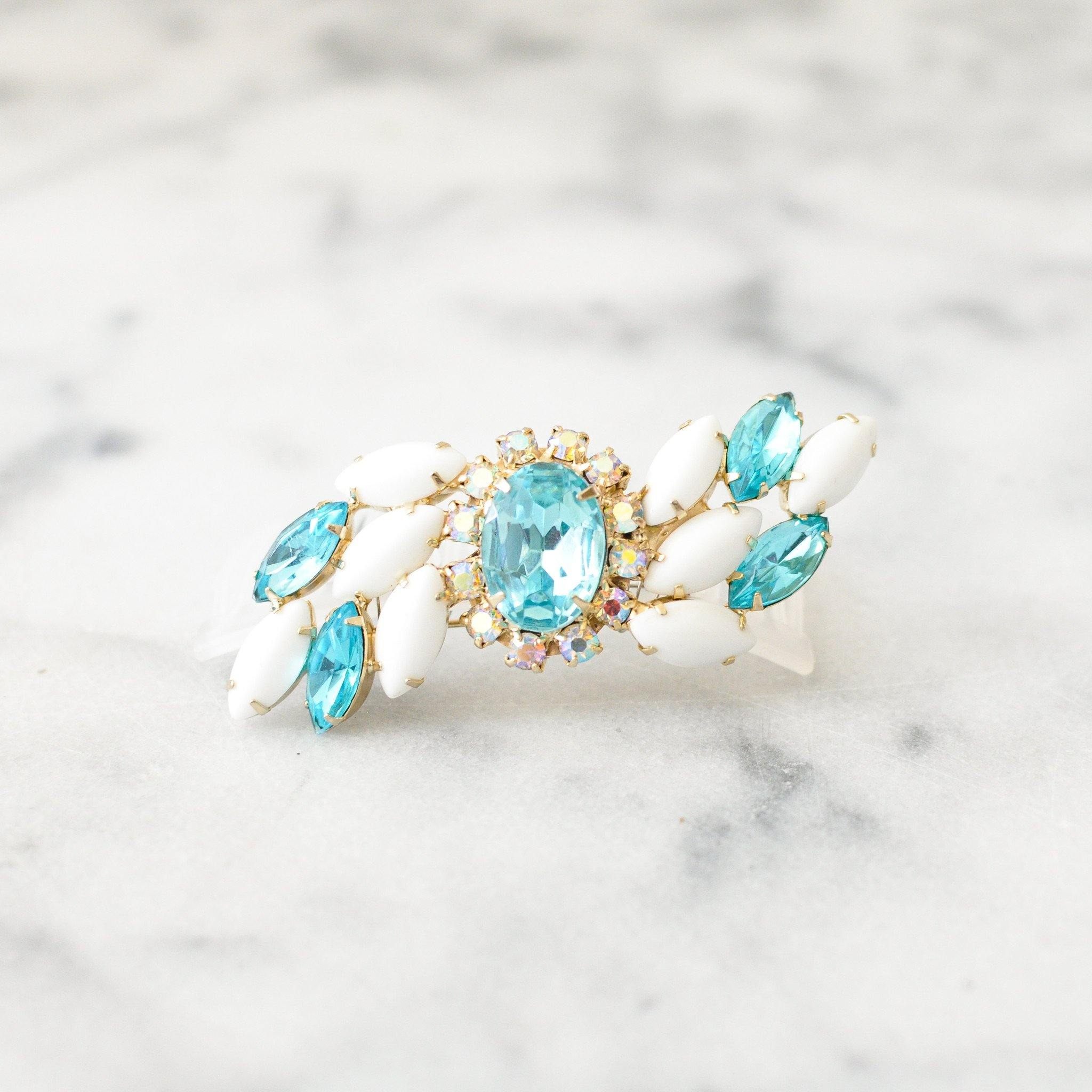 Blue and White Rhinestone Bun Pin