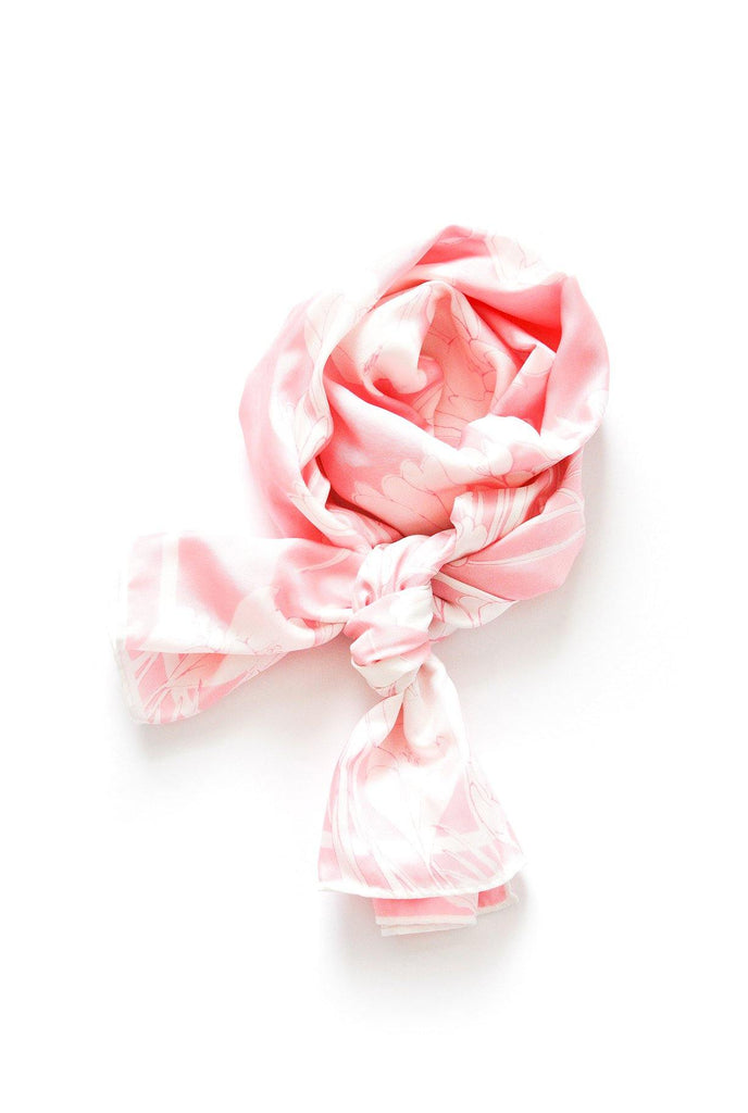 Pink Floral Rectangle Scarf