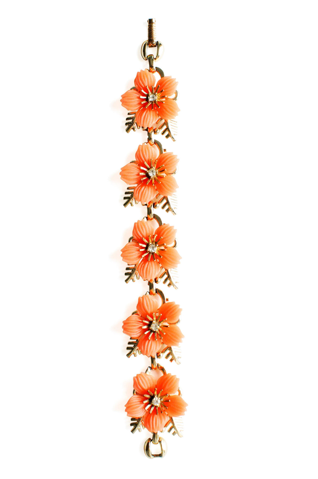 Orange Floral Statement Bracelet