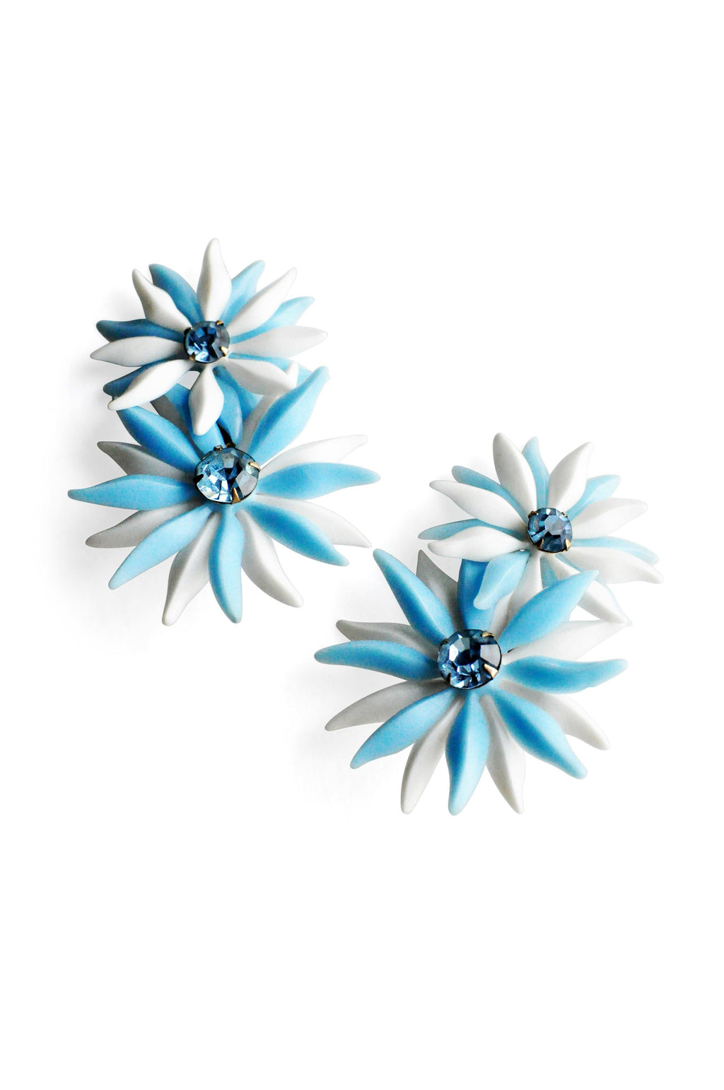 Blue and White Rhinestone Floral Clip-on Earrings