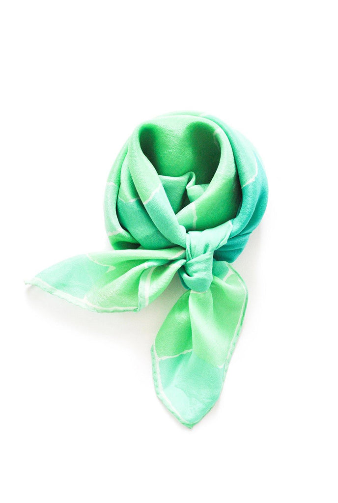 Green Floral Square Scarf