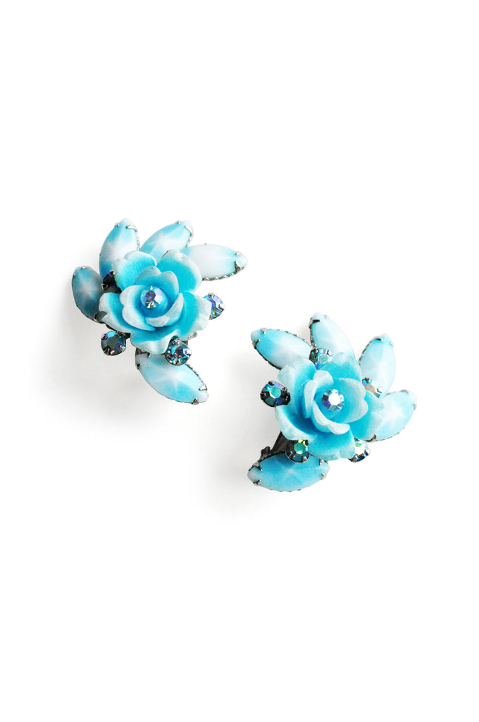 Light Blue Rhinestone Rose Clip-On Earrings