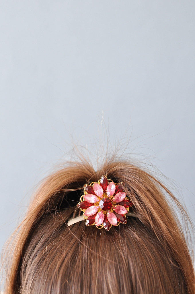 Pink and Red Rhinestone Bun Pin