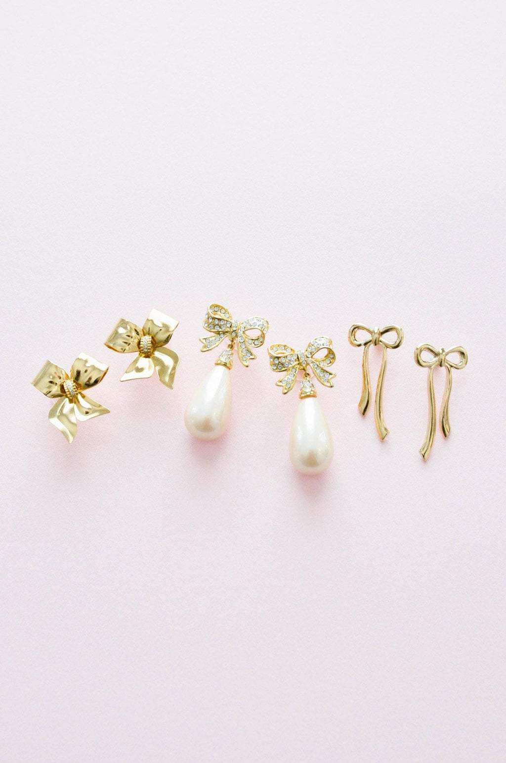 Bow Drop Pierced Earrings