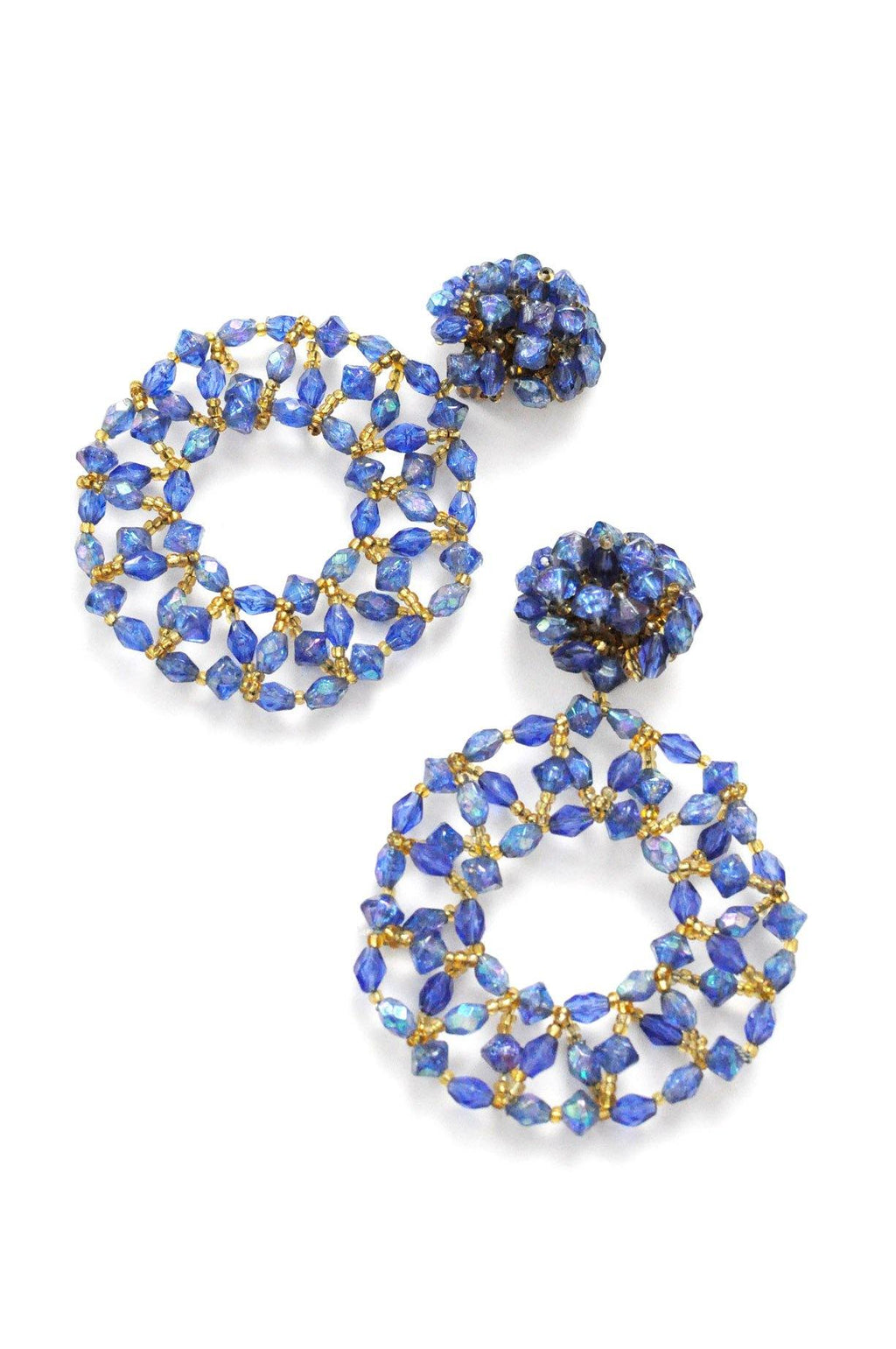 Blue Beaded Clip-on Earrings
