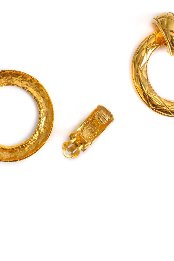 Chanel CC Quilted Clip-on Hoop Earrings