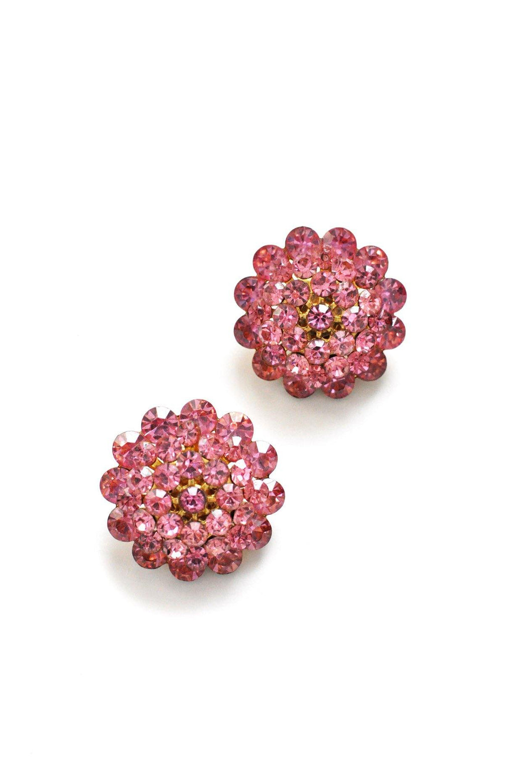 Pink Rhinestone Statement Clip-on Earrings