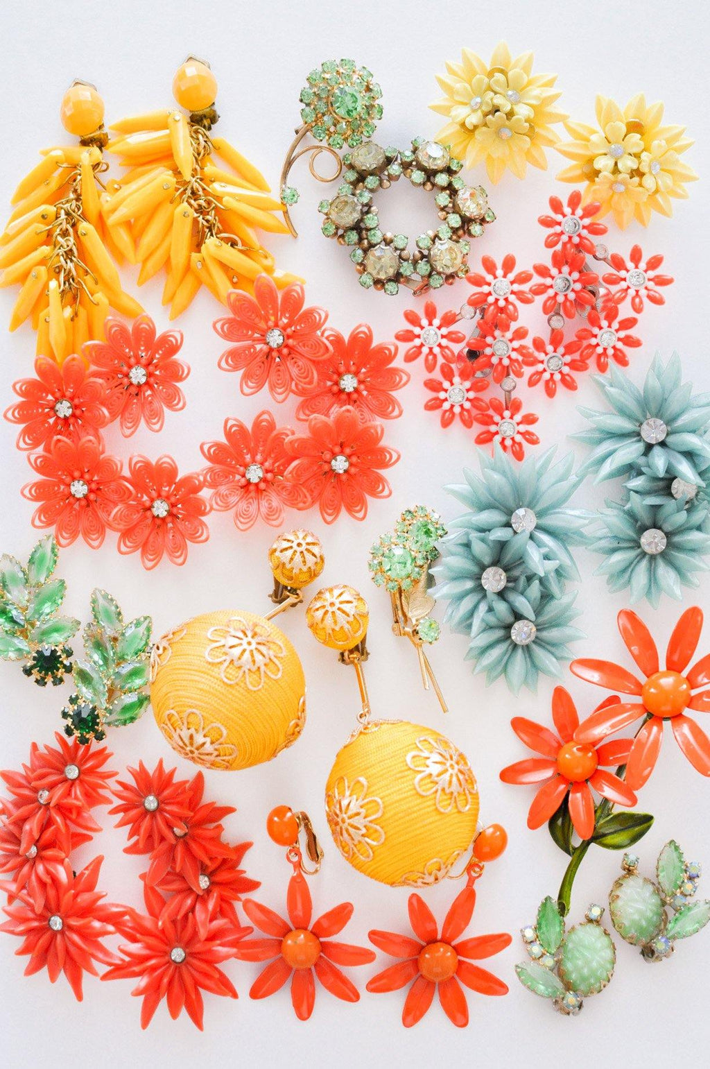 Orange Floral Crawler Clip-on Earrings