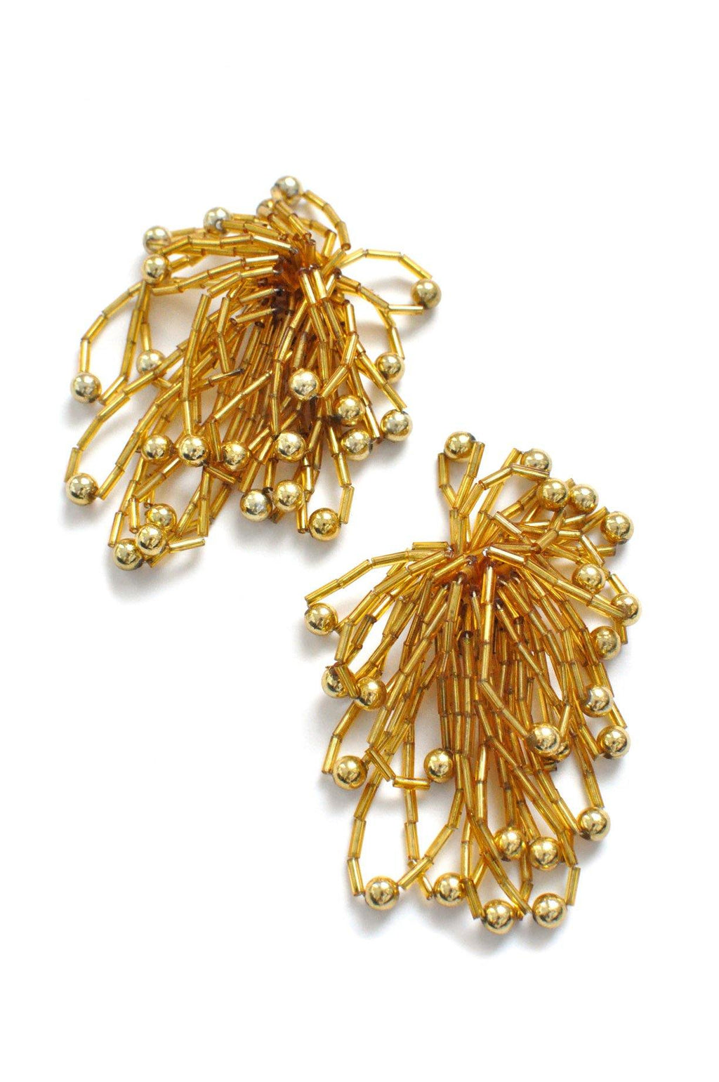 Gold Fringe Clip-on Earrings