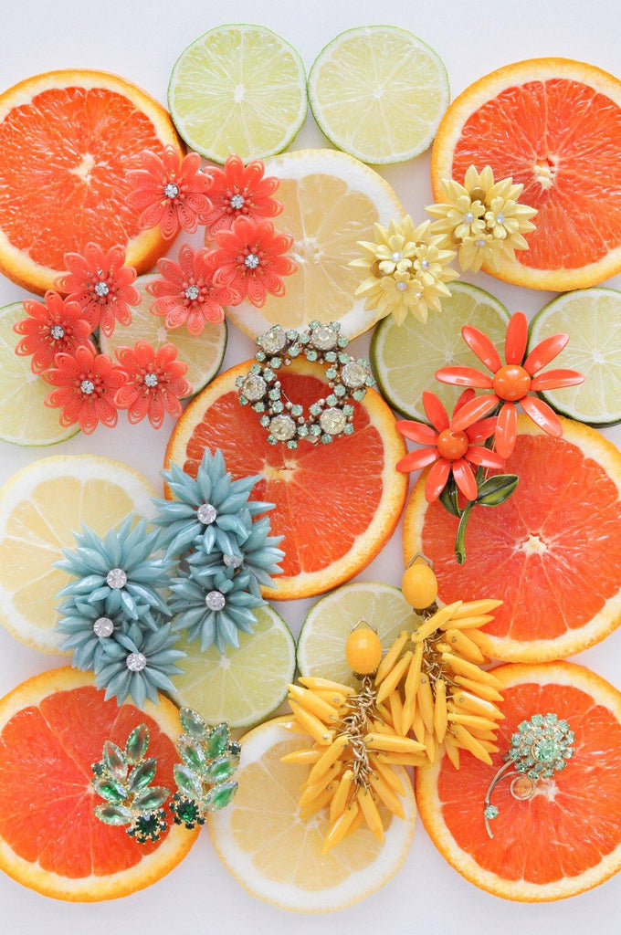 Orange Floral Brooch