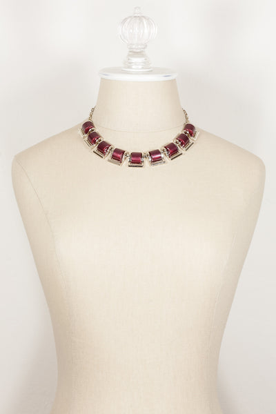 60's__Vintage__Red Lucite Statement Necklace