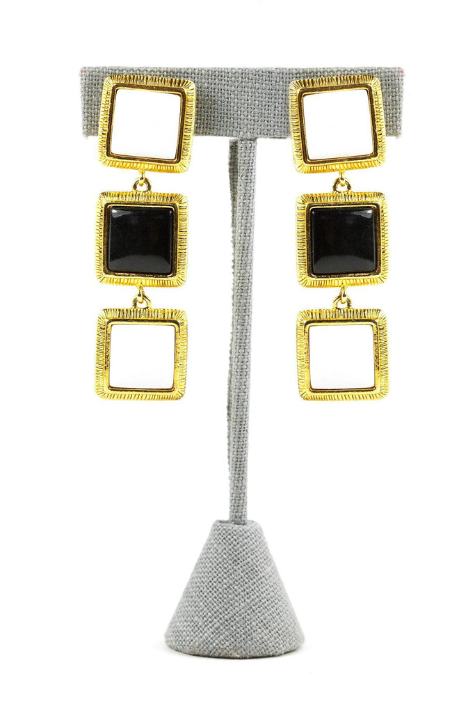 70's__Liz Claiborne__Classic Square Clip-On Earrings