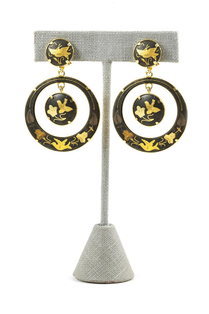 50's__Vintage__Damascene Drop Clip-On Earrings