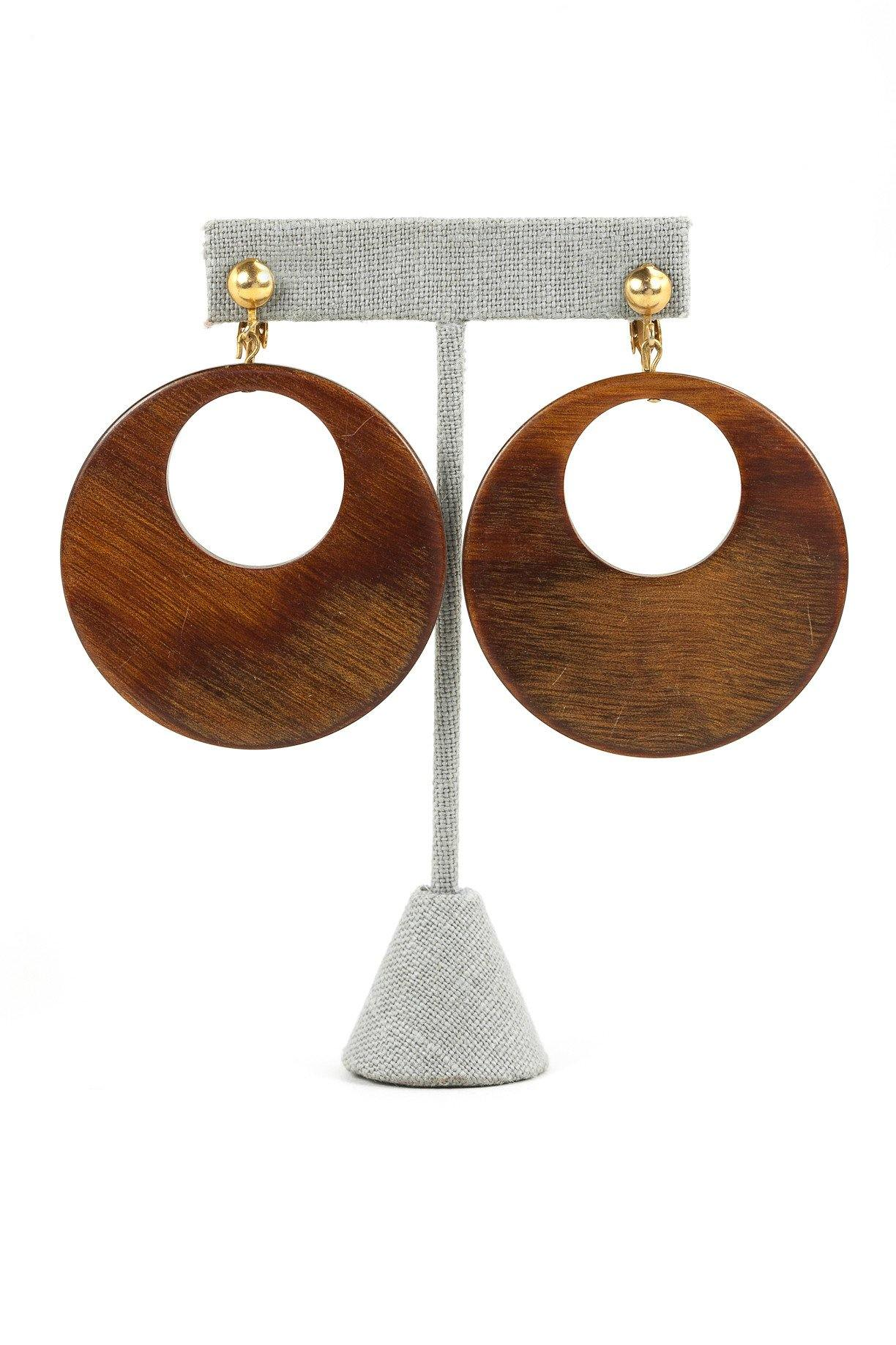70's__Vintage__Wooden Drop Clip-On Earrings