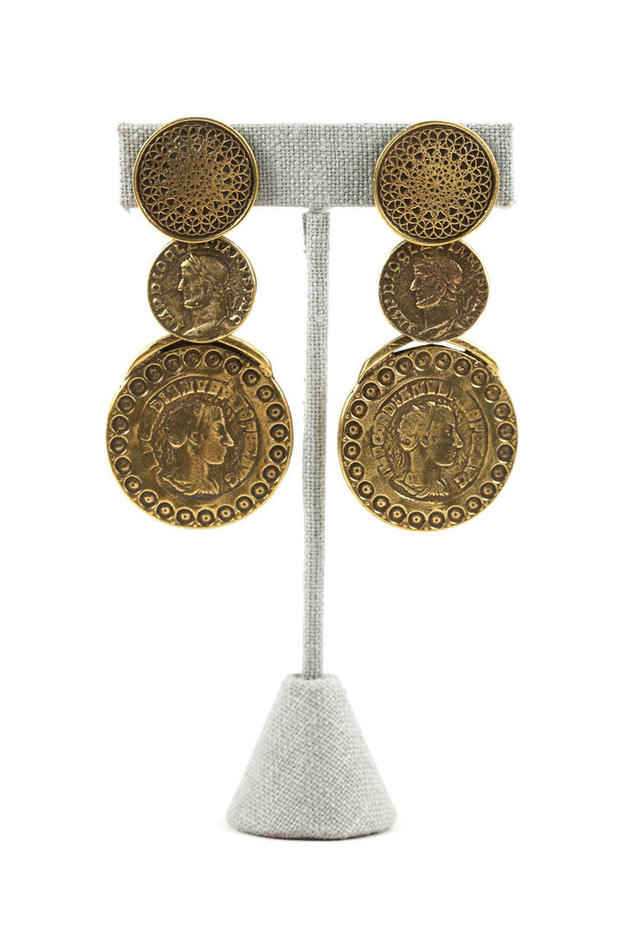 70's__Vintage__Statement Coin Clip-On Earrings