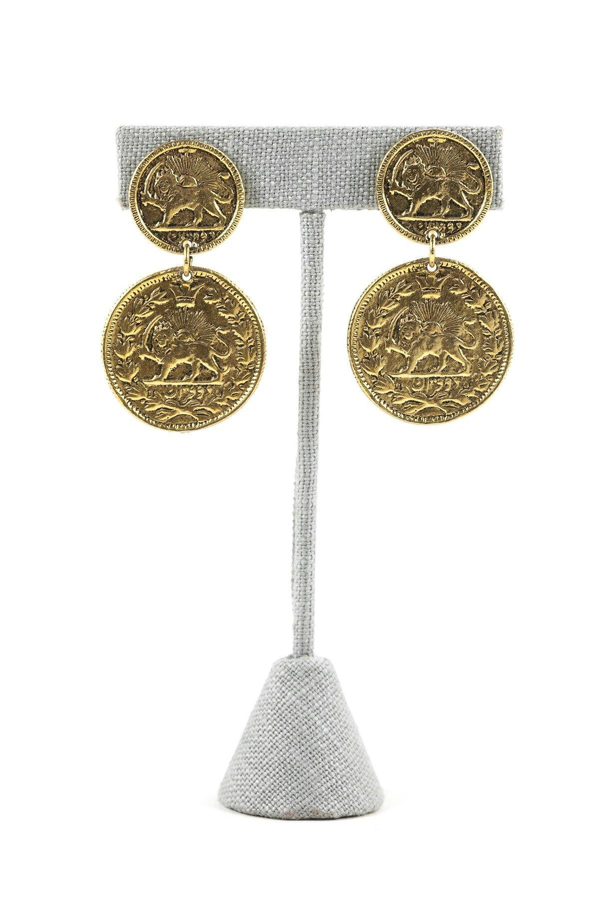 70's__Goldette__Statement Coin Clip-On Earrings