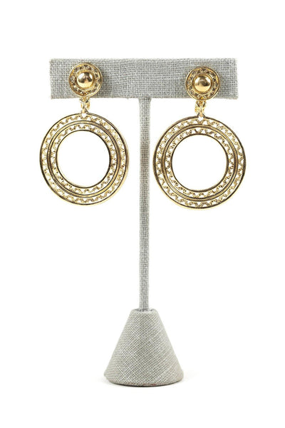 60's__Monet__Textured Drop Clip-On Earrings