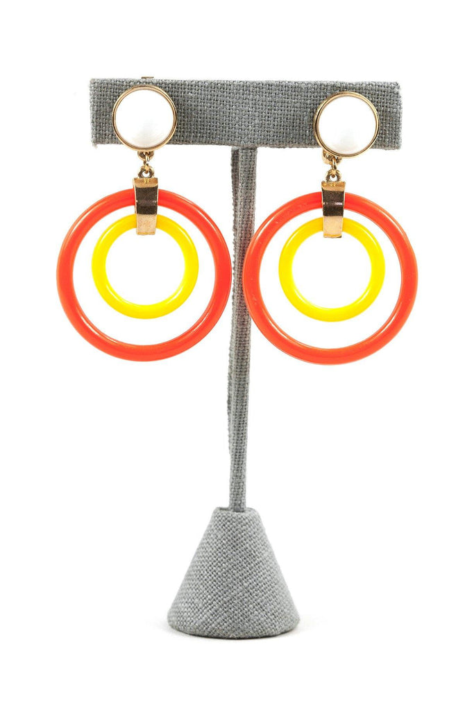 60's__Trifari__Circle Drop Clip-On Earrings